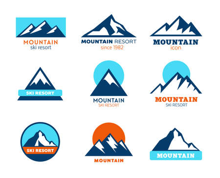 Collection of mountains icons Stock fotó - 97686986
