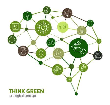 Koncepcja ekologiczna - ochrona środowiska poprzez zmianę myślenia człowieka. Potrafi symbolizować edukację, która prowadzi do ochrony przyrody i planety. Ilustracje wektorowe