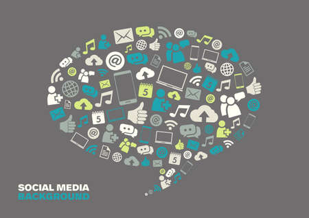Speech bubble with social media icons representing connection and communication. Illustration