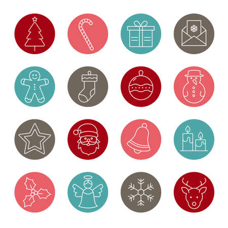 Collection Of Christmas and Winter Icons Illustration