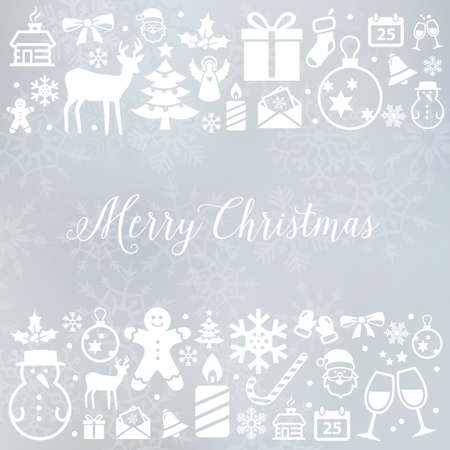 Christmas decoration - background with winter and Christmas symbols. Can be used for web or print. Illustration