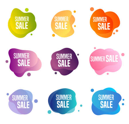 Collection of summer sales buttons - to use to promote seasonal discounts