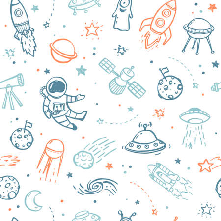 Seamless pattern made of hand drawn doodles - UFO's, aliens, planets and spacecrafts. Stock Illustratie