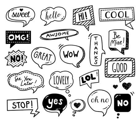 Speech bubbles drawn by hand - doodles. Dialog words, conversation phrases. Illustration
