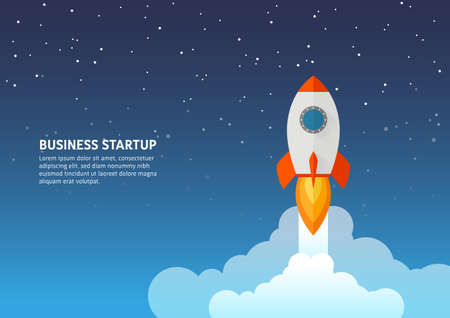 Rocket launch icon - can be used to illustrate cosmic topics or a business startup, launching of a new company