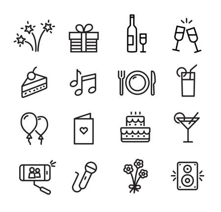 Celebration icons set, can be used to illustrate topics like parties, birthday celebration, family events Illustration