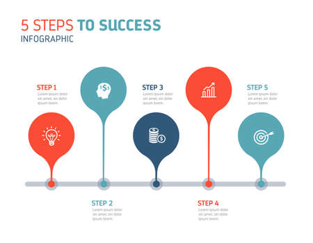 Five steps infographics - can illustrate a strategy, workflow or team work. Banque d'images - 126020089