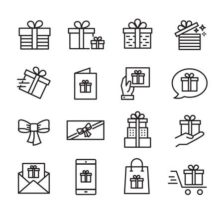Gifts and celebration icons set, can be used to illustrate topics like parties, birthday celebration, family events.