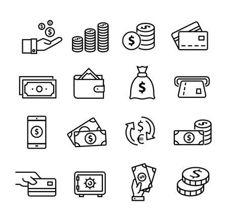 Money icons set, can be used to illustrate topics like savings, paying, buying, using online banking etc... Ilustração