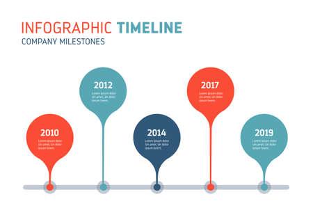 Chronologie de l'entreprise - diagramme annuel. Peut être utilisé pour montrer le processus, les progrès, l'histoire, la croissance... Image vectorielle.