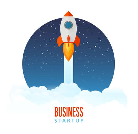 Rocket launch icon - can be used to illustrate cosmic topics or a business startup, launching of a new company Banque d'images - 125984201