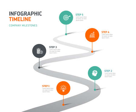Five steps infographics - can illustrate company history, future or a strategy, workflow.