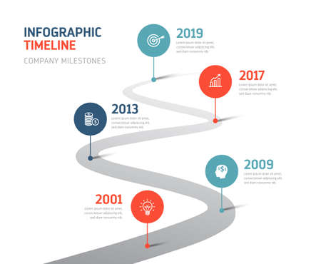 Five steps infographics - can illustrate company history, future or a strategy, workflow. Banque d'images - 125948448