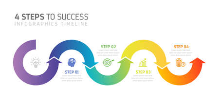 Four steps infographics - can illustrate a strategy, workflow, team work, timeline etc.