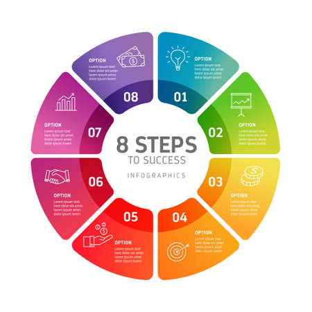 Infografía de ocho pasos: puede ilustrar una estrategia, flujo de trabajo, trabajo en equipo, línea de tiempo, etc.