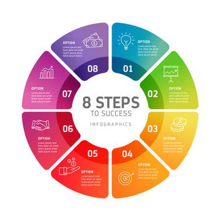 Infografika ośmiu kroków - może zilustrować strategię, przepływ pracy, pracę zespołową, oś czasu itp.