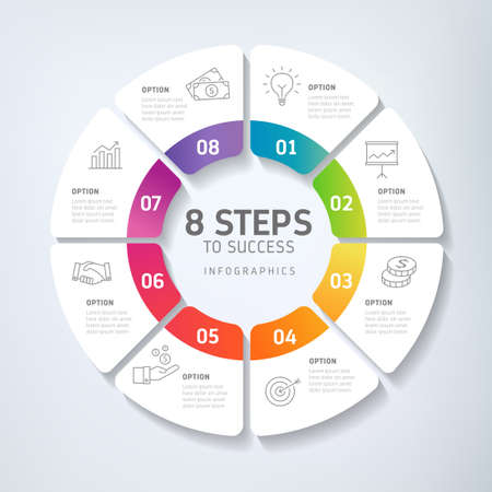 Eight steps infographics - can illustrate a strategy, workflow, team work, timeline etc. Illustration