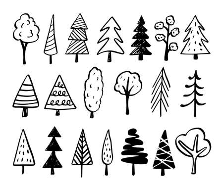 Collection of hand drawn trees illustrations - doodles. Can be used to illustrate any nature or healthy lifestyle topic. Banque d'images - 125159094
