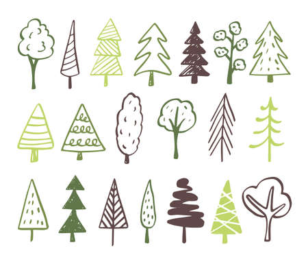 Collection of hand drawn trees illustrations - doodles. Can be used to illustrate any nature or healthy lifestyle topic. Banque d'images - 125159095