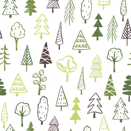 Collection of hand drawn trees illustrations - doodles. Can be used to illustrate any nature or healthy lifestyle topic. Banque d'images - 125159096