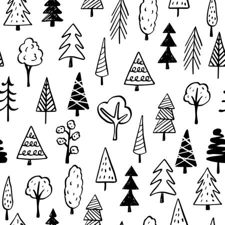 Collection of hand drawn trees illustrations - doodles. Can be used to illustrate any nature or healthy lifestyle topic. Banque d'images - 125159097