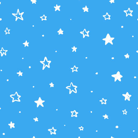 Doodle star seamless pattern - hand drawn doodle stars. Can be used as a decoration, wallpaper, textile pattern.