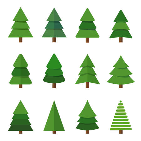 Collection of Christmas trees, modern flat design. Can be used for printed materials - leaflets, posters, business cards or for web. Banque d'images - 124176657