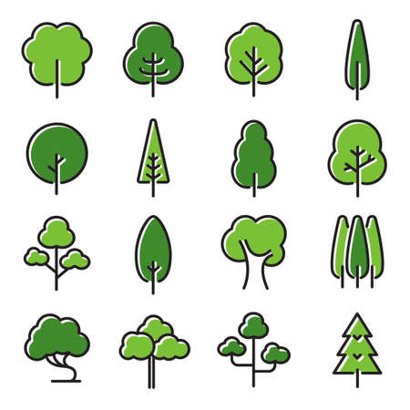 Collection of trees illustrations. Can be used to illustrate any nature or healthy lifestyle topic. Banque d'images - 124176659
