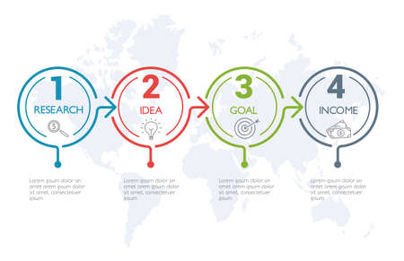 Four steps infographics, timeline - can illustrate a strategy, workflow or team work. Banque d'images - 123941775