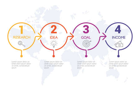 Four steps infographics, timeline - can illustrate a strategy, workflow or team work. Banque d'images - 123941776