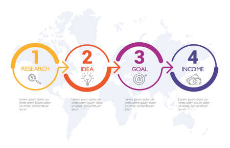 Four steps infographics, timeline - can illustrate a strategy, workflow or team work. Banque d'images - 123941777