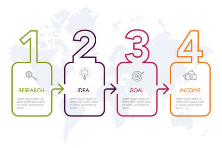 Four steps infographics, timeline - can illustrate a strategy, workflow or team work. Banque d'images - 123434309