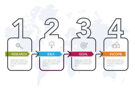 Four steps infographics, timeline - can illustrate a strategy, workflow or team work. Banque d'images - 123434310