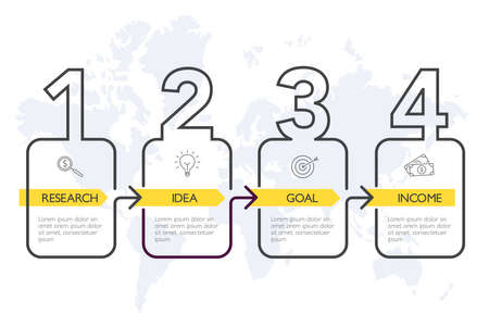 Four steps infographics, timeline - can illustrate a strategy, workflow or team work. Banque d'images - 124428181