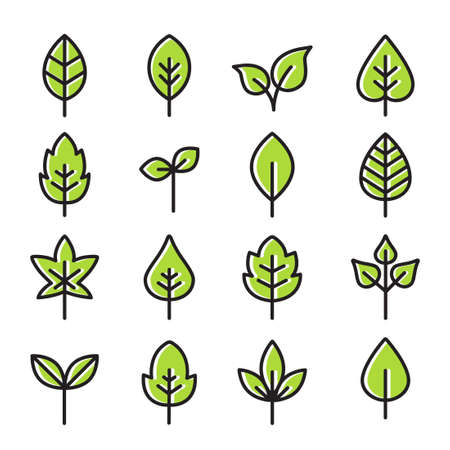 Collection Of Leaves Icons - can illustrate any topic about nature or ecology and environment Banque d'images - 122878315