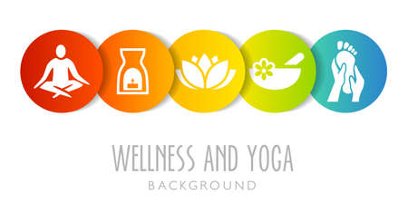 Yoga And Wellness Background - can be used as an illustration or banner for a yoga or wellness studio Banque d'images - 124428185