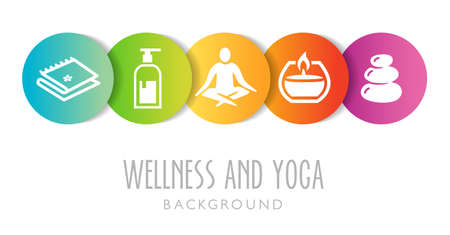 Yoga And Wellness Background - can be used as an illustration or banner for a yoga or wellness studio Banque d'images - 124428180