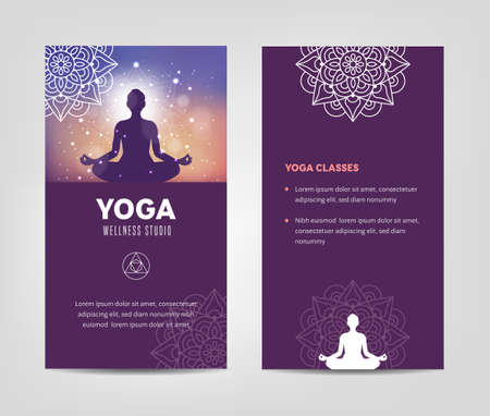 Wellness and Yoga Studio Leaflet Template 向量圖像
