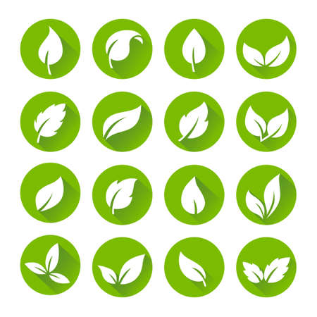 Green Leaves Icon Set - Flat Design Style, can illustrate nature or ecology topics Banque d'images - 124428189