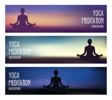 Yoga and meditaton banners, can be used as backgrounds for yoga studios or topics about wellness, spa, meditation. Banque d'images - 124428186