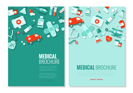 Brochure template - medical topics, healthcare, science, technology. Banque d'images - 124428192