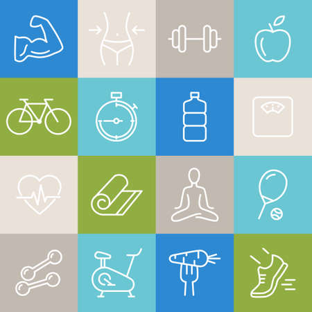 Collection of icons related to healthy lifestyle, healthy eating, diet, exercise, relaxing