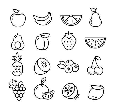 Collection of thin line icons representing fruit, healthy eating, healthy diet and healthy lifestyle Banque d'images - 126487125