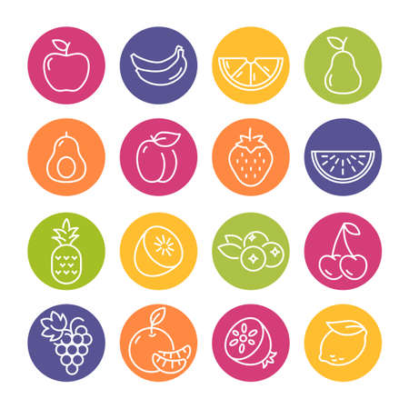 Collection of thin line icons representing fruit, healthy eating, healthy diet and healthy lifestyle Banque d'images - 126487124