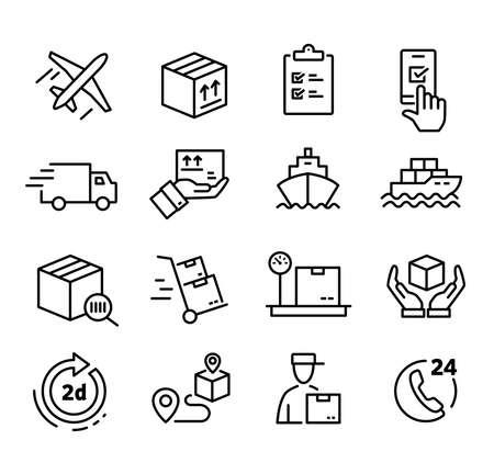 Verzamelingen van pictogrammen die verzending, logistiek, klantenservice, terugbetalingen en meer vertegenwoordigen