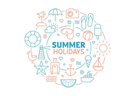 Summer background made of thin line icons - can be used to illustrate topics like travel, holidays, relaxing at the sea Illustration