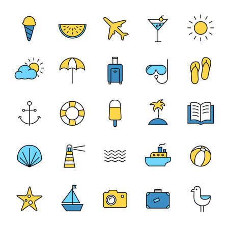 Collection of icons representing summer, travel, sea, beaches and relax. Modern, thin lines style. Banque d'images - 126487132