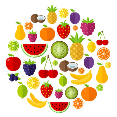 Fruit background made of icons in flat design style, can be used to illustrate summer topics or healthy lifestyle topics, diet, healthy eating Banque d'images - 128433669