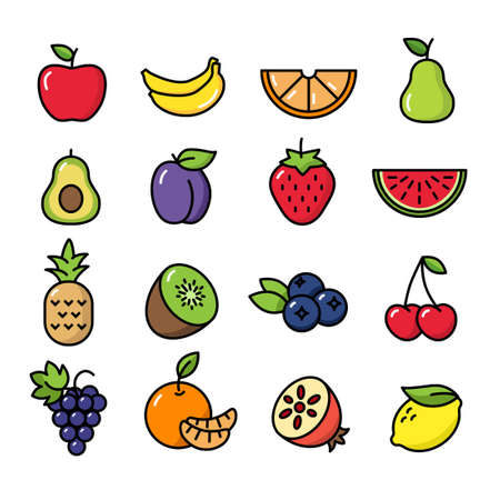 Collection of thin line icons representing fruit, healthy eating, healthy diet and healthy lifestyle Banque d'images - 129974731