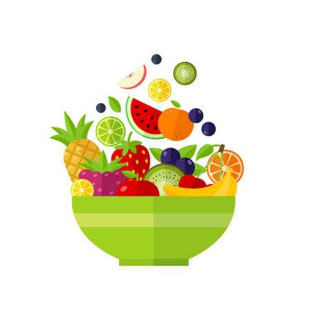 Salad bowl - healthy food, organic fruits. Can be used for any printed or web graphic, for infographics to illustrate healthy lifestyle or vegan, vegetarian, raw diet. 写真素材 - 129974781